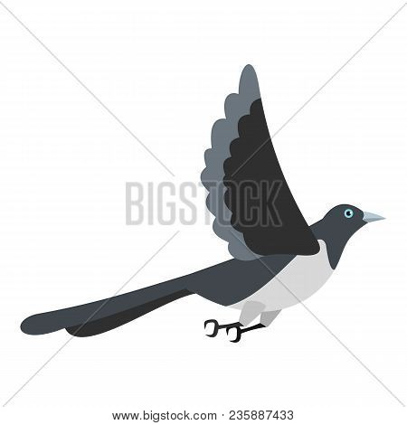 Flying Magpie Icon. Flat Illustration Of Flying Magpie Vector Icon For Web