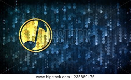 Musicoin Cryptocurrency. Yellow Trading Sign On The Pixelated Background With Blank Copyspace For Ca