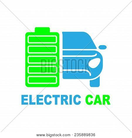 Electric Car Premium Illustration Icon, Isolated, Color On White Background, With Text Elements. Eps