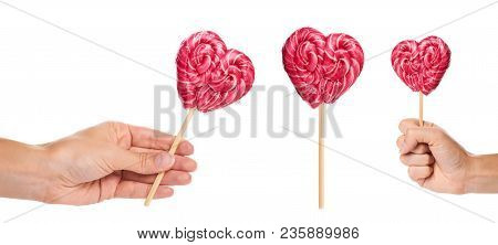 Set Of Different Hand Made Candy Heart Shape With Hand, Isolated On White Background.