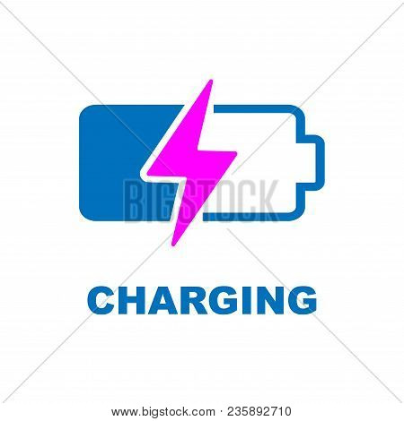 Battery Charging Vector Icon. Color Sign On White Background. Eps 10