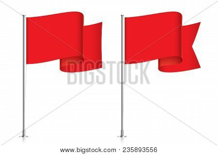 Red Flag Templates. Clean Horizontal Waving Flags, Isolated On Background. Vector Flag Mockups