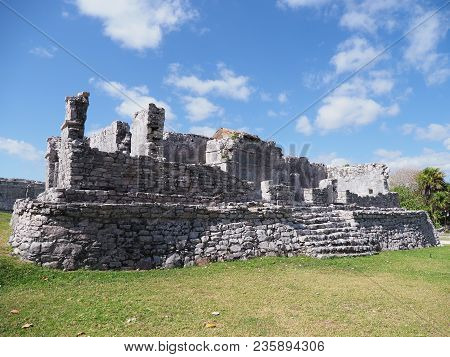 Ancient Ruins Of Stony Historical Building With Stairs At Tulum Mayan City In Mexico, Large Archaeol