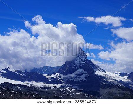 Matterhorn Mount In Cloud, Scenic Alpine Mountains Range Landscapes In Swiss Alps Seen From Gornergr