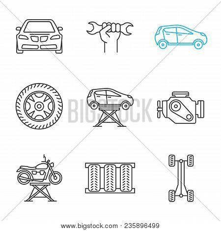 Auto workshop linear icons set. Spanner in hand, tire and rim, car, auto jack, engine, motorbike lift, chassis frame. Thin line contour symbols. Isolated vector outline illustrations poster