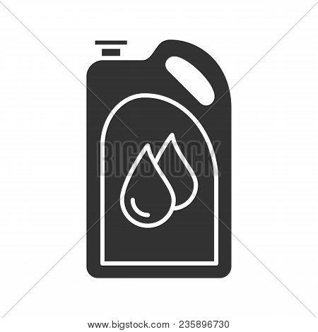 Motor Oil Glyph Icon. Plastic Jerry Can With Liquid Drops. Fuel Container. Silhouette Symbol. Negati