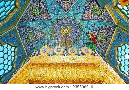 Rayen, Iran - Octotber 16, 2017: The Scenic Dome With Stellar Pattern And Details Of Mausoleum In Sh