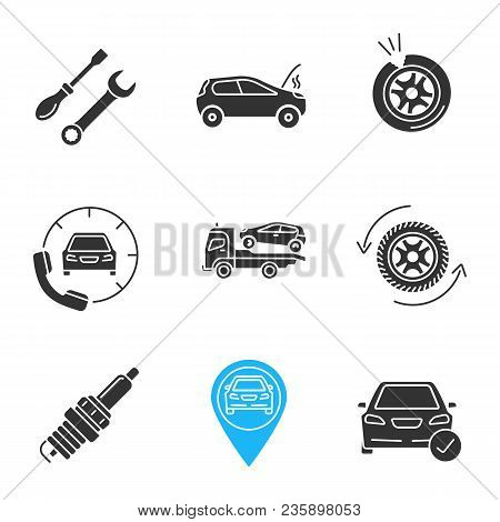 Auto Workshop Glyph Icons Set. Screwdriver And Spanner, Broken Car, Punctured Tire, Assistance, Tow