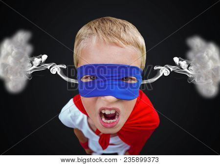 anger boy dressed like superhero with steam on ears. Black background