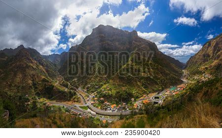 Mountain village Serra de Aqua in Madeira Portugal - travel background
