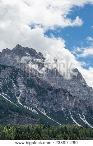 Mountain Ridge In Italian Dolomites Alps In Summer Time.