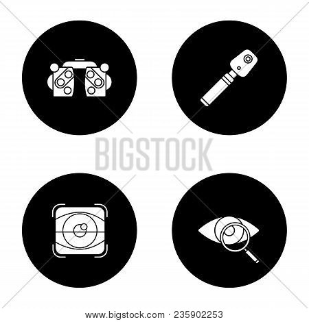 Ophtalmology Glyph Icons Set. Phoropter, Ophthalmoscope, Retina Scan, Eyesight Test. Vector White Si