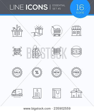 Shopping - Modern Vector Colorful Icons Set. Images Of A Product Basket, Present, Trolley, Building,