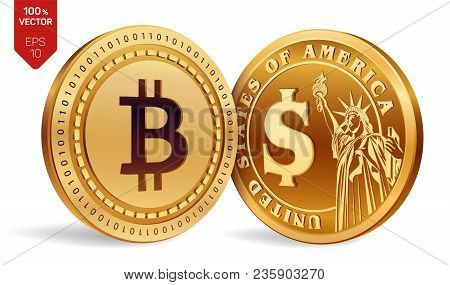 Bitcoin. Dollar. 3d Isometric Physical Coins. Digital Currency. Cryptocurrency. Golden Coins With Bi