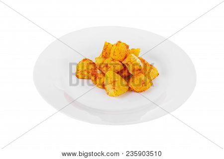 Potatoes Diced Fried, Baked With Spices, Side Dish On A Plate On White Isolated Background Side View