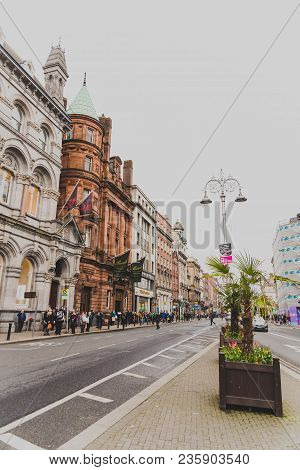 Dublin, Ireland - April 12th, 2018: Wide-angle Shot Of Dame Street In Dublin City Centre