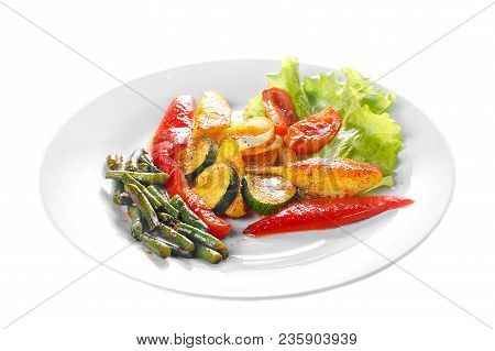Vegetables Grilled Portion Of Side Dish On A Plate On White Isolated Background Side View. Appetizin