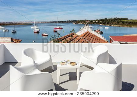 View From The Terrace, To The Bay With Yachts In The Town Of Alvor