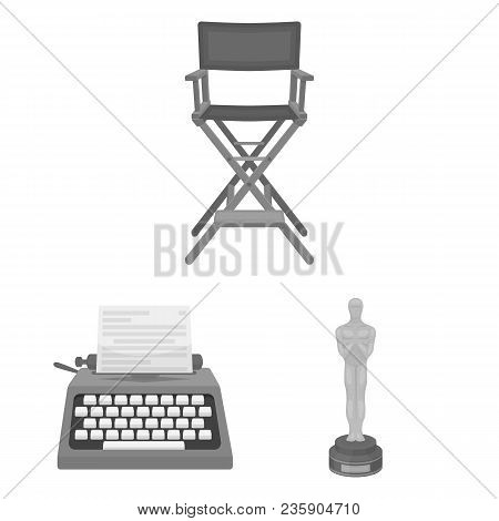 Films And Cinema Monochrome Icons In Set Collection For Design.movies And Attributes Vector Symbol S