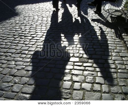 People Reflections On Cobblestone Road