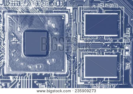 Close-up Of Electronic Circuit Board With Chips And Processors, Motherboard Laptop Computer Motherbo