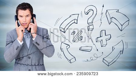 Frustrated business man with phone against blurry blue wood panel and math graphics