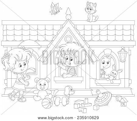 Little Children Playing In A Toy House On A Playground, A Black And White Vector Illustration In A C