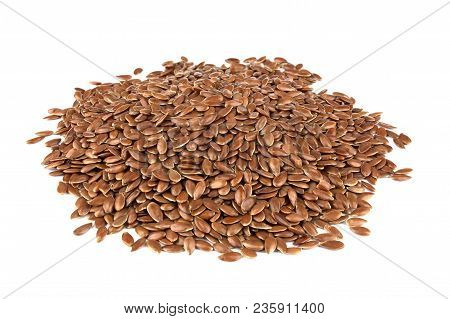 Flax Seeds Isolated On White Background. Also Known As Linseed, Flaxseed And Common Flax. Pile Of Gr