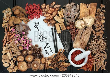 Chinese acupuncture needles and moxa sticks with traditional herbs used in herbal medicine on dark wood background with calligraphy script. Translation reads as chinese herbal medicine. Top view.