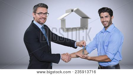 men Holding key with house icon and handshake in front of vignette