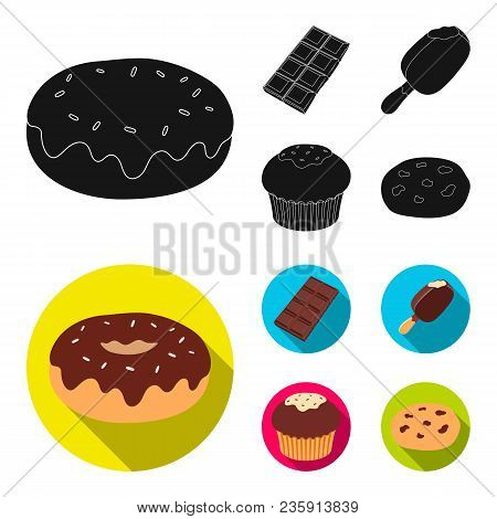 Donut With Chocolate, Zskimo, Shokolpada Tile, Biscuit.chocolate Desserts Set Collection Icons In Bl