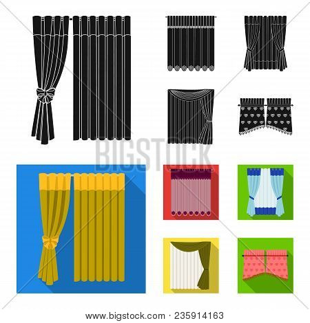 Curtains, Drapes, Garters, And Other  Icon In Black, Flat Style. Textiles, Furniture, Bow Icons In S