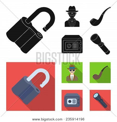 Lock Hacked, Safe, Smoking Pipe, Private Detective.detective Set Collection Icons In Black, Flat Sty