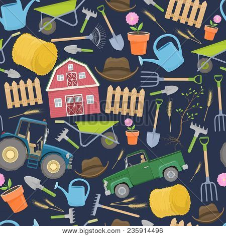 Seamless Pattern Of Colorful Farming Equipment Icons. Farming Tools And Agricultural Machines Decora