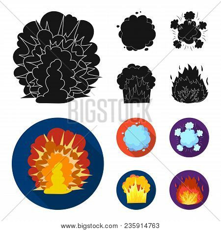 Flame, Sparks, Hydrogen Fragments, Atomic Or Gas Explosion. Explosions Set Collection Icons In Black