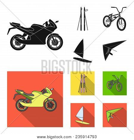 Motorcycle, Mountain Skiing, Biking, Surfing With A Sail.extreme Sport Set Collection Icons In Black