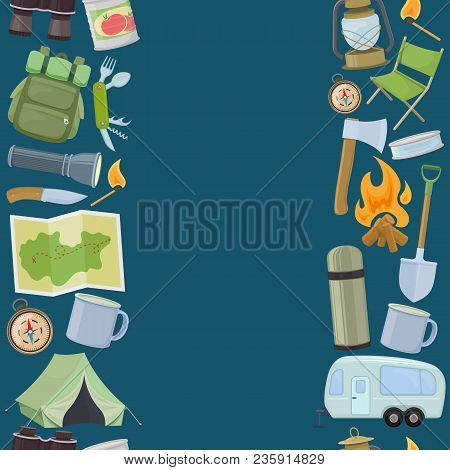 Seamless Borders Of Travel Equipment. Accessories For Camping And Camps. Colorful Cartoon Illustrati