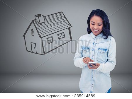 Woman Holding keys with house home drawing in front of vignette
