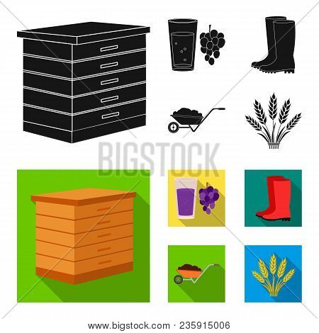 Hive, Grapes, Boots, Wheelbarrow.farm Set Collection Icons In Black, Flat Style Vector Symbol Stock