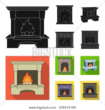 Fire, Warmth And Comfort.fireplace Set Collection Icons In Black, Flat Style Vector Symbol Stock Ill
