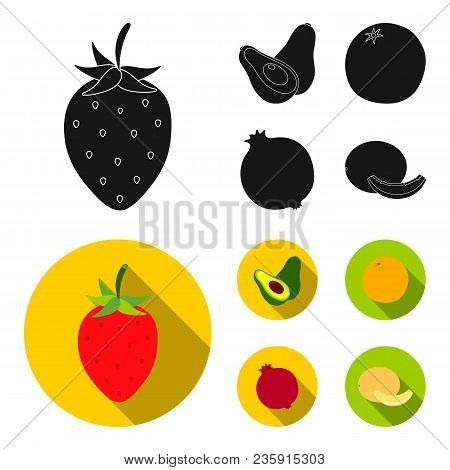 Strawberry, Berry, Avocado, Orange, Pomegranate.fruits Set Collection Icons In Black, Flat Style Vec