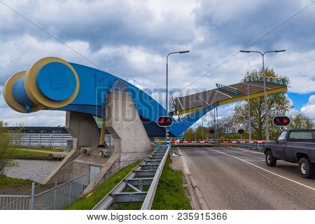 Famous drawbridge in Leeuwarden Netherlands - architecture background