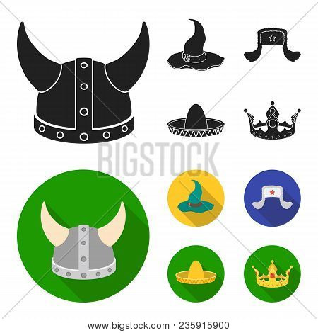 Sombrero, Hat With Ear-flaps, Helmet Of The Viking.hats Set Collection Icons In Black, Flat Style Ve