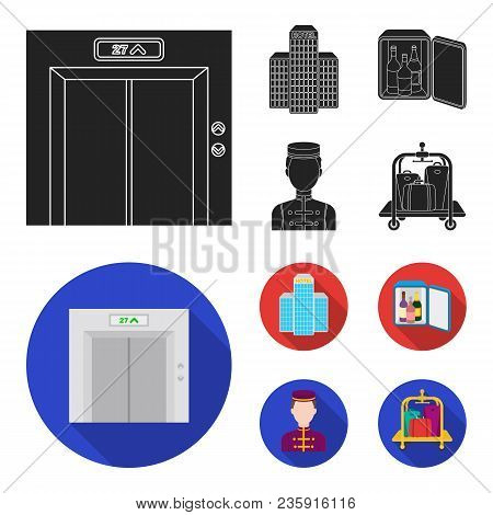 Elevator Car, Mini Bar, Staff, Building.hotel Set Collection Icons In Black, Flat Style Vector Symbo