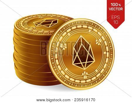 Eos. Crypto Currency. 3d Isometric Physical Coins. Digital Currency. Stack Of Golden Coins With Eos