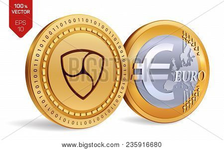 Nem. Euro. 3d Isometric Physical Coins. Digital Currency. Cryptocurrency. Golden Coins With Nem And
