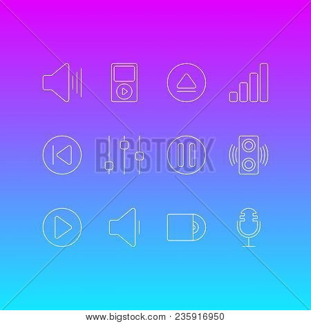 Vector Illustration Of 12 Music Icons Line Style. Editable Set Of Play, Cd, Upward Sound And Other I