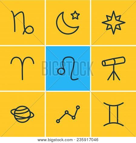 Vector Illustration Of 9 Astrology Icons Line Style. Editable Set Of Gemini, Star, Aries And Other I