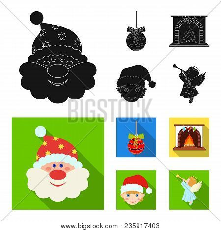 Santa Claus, Dwarf, Fireplace And Decoration Black, Flat Icons In Set Collection For Design. Christm