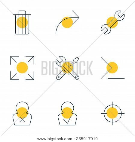 Illustration Of 9 Interface Icons Line Style. Editable Set Of Publish, Trash, Full Screen And Other